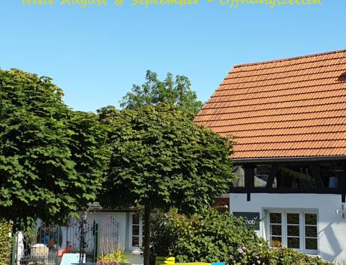 August & September Öffnungszeiten im Fermob Garten